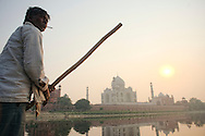 The boatman at Yamuna river, that takes his passengers close from the Taj Mahal wall