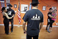 (CH) FL-el-argentinean-tango-CHh --Members of The Tango Times Dance Company are dancing during the practice of The Argentine Folk and Tango Show, at their studio in North Miami Beach on June 30, 2012. Saff photo/Cristobal Herrera Sun-Sentinel