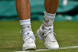 © Licensed to London News Pictures. 28/06/2016. Close-up of ANDREW MURRAY'S feet as he plays a first round match against LIAM BRODY on the second day of the WIMBLEDON Lawn Tennis Championships in London, UK. Photo credit: Ray Tang/LNP