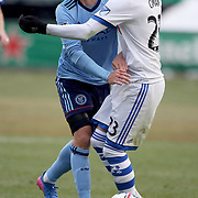 NEW YORK, NEW YORK - March 18:  David Villa #7 of New York City FC clashes with Laurent Ciman #23 of Montreal Impact during the New York City FC Vs Montreal Impact regular season MLS game at Yankee Stadium on March 18, 2017 in New York City. (Photo by Tim Clayton/Corbis via Getty Images)