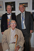 Denis Healey with Colin Bell, Vice Chair & Steve Gardner, Chair of Seaford Photographic Society<br /> <br /> Seaford Photographic Society 2013 Exhibition opening in the Crypt Gallery in Seaford East Sussex by the President;  The Right Honourable The Lord Denis Healey former Deputy Leader of the Labour Party. Free entry and open 1000-1700 from 21 September to 6 October 2013