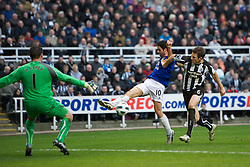 NEWCASTLE, ENGLAND - Saturday, March 5, 2011: Everton's Mikel Arteta and Newcastle United's Mike Williamson during the Premiership match at St. James' Park. (Photo by David Rawcliffe/Propaganda)