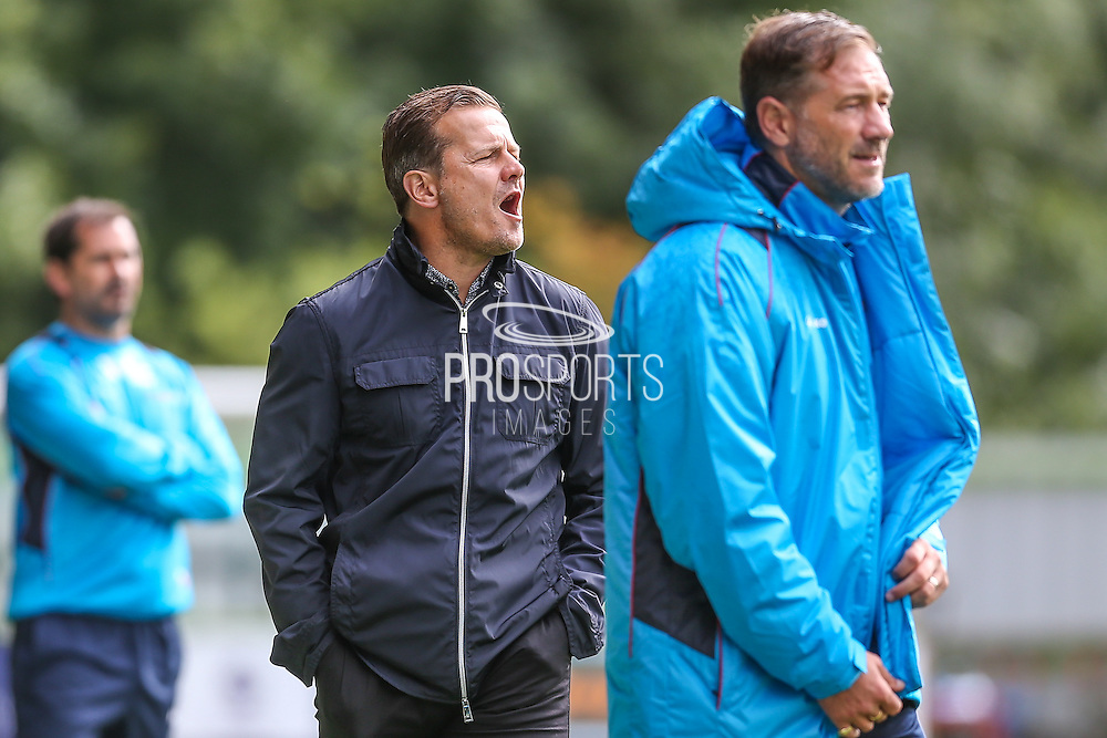 Forest Green Rovers manager, Mark Cooper & Forest Green Rovers assistant manager, Scott Lindsey during the Vanarama National League match between Forest Green Rovers and York City at the New Lawn, Forest Green, United Kingdom on 20 August 2016. Photo by Shane Healey.