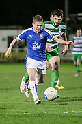 Jay Harris (Tranmere Rovers) runs through on goal during the Vanarama National League match between North Ferriby United and Tranmere Rovers at Eon Visual Media Stadium, North Ferriby, United Kingdom on 21 March 2017. Photo by Mark P Doherty.
