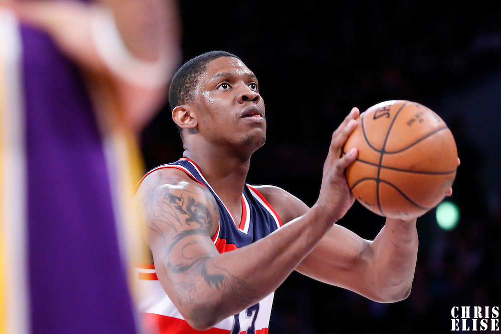 27 January 2015: Washington Wizards center Kevin Seraphin (13) is seen at the free throw line during the Washington Wizards 98-92 victory over the Los Angeles Lakers, at the Staples Center, Los Angeles, California, USA.