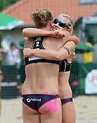 STARE JABLONKI POLAND - July 5: Karla Borger and Britta Buthe of Germany in action during Day 5 of the FIVB Beach Volleyball World Championships on July 5, 2013 in Stare Jablonki Poland.  (Photo by Piotr Hawalej)