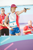 Modern Pentathlon World Cup Final London, Elodie Clouvel (FRA) competes in he running/shooting