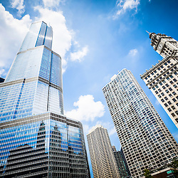Picture of Chicago new and old buildings with Trump Tower and Wrigley Building in downtown Chicago.