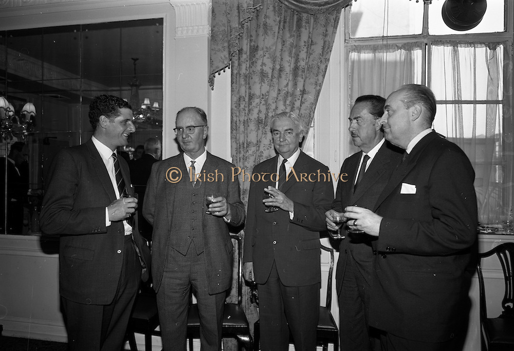 05/05/1965<br /> 05/05/1965<br /> 05 May 1965<br /> Hennessy Press reception at the Gresham Hotel, Dublin to announce the company's plans for sports sponsorship that year. Pictured at the event were (l-r) Mr. Nigel Beamish, Director, Edward Dillon and Co. Ltd.; Mr. Fred Clarke, Managing Director, Leopardstown CLub; Mr. Maurice Hennessy, Chairman, Jos. Hennessy and Co.; Mr. Patrick Hennessy, Director and Comte de Geoffre, DIrector.
