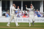 Wicket - Jack Leach of Somerset celebrates taking the wicket of Keshav Maharaj of Lancashire during the Specsavers County Champ Div 1 match between Somerset County Cricket Club and Lancashire County Cricket Club at the Cooper Associates County Ground, Taunton, United Kingdom on 5 September 2018.