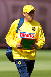August 3, 2010; San Francisco, CA, USA;  Club America assistant coach Alejandro Dominguez practices at Candlestick Park a day before their match with Real Madrid.