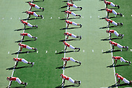 PISCATAWAY, NJ - OCTOBER 18: Overhead view of the Rutgers Scarlet Knights stretching in warm-ups before the game against the Connecticut Huskies at Rutgers Stadium on October 18, 2008 in Piscataway, New Jersey. Rutgers defeated Connecticut 12-10.  *** Local Caption ***