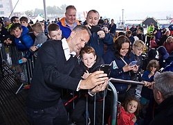 CARDIFF, WALES - Wednesday, May 29, 2019: Wales' manager Ryan Giggs takes a selfie for a young supporter after a Q&A on the steps of the Senedd after a press conference at the Wales Millennium Centre during the Urdd National Eisteddfod to announce the squad for the forthcoming UEFA Euro 2020 Qualifying Group E matches for Wales against Croatia and Hungary. (Pic by David Rawcliffe/Propaganda)