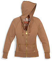 America brown hoodie with gold zipper pockets