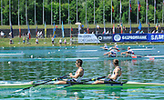 Munich, GERMANY,   GBR M2X, Bow Bill LUCAS and Sam TOWNSEND qualify, for the final,  through heir semi final place.  2012 A World Cup III on the Munich Olympic Rowing Course,  Saturday   16/06/2012. [Mandatory Credit Peter Spurrier/ Intersport Images]