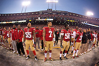 12 January 2013: Quarterback (7) Colin Kaepernick of the San Francisco 49ers stands during the National Anthem before playing against the Green Bay Packers before the 49ers 45-31 victory over the Packers in an NFL Divisional Playoff Game at Candlestick Park in San Francisco, CA.