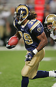 ST. LOUIS - SEPTEMBER 23:  Running back Steven Jackson #39 of the St. Louis Rams rushed for 97 yards and 2 touchdowns against the New Orleans Saints at the Edward Jones Dome on September 23, 2005 in St. Louis, Missouri. The Rams defeated the Saints 28-17. ©Paul Anthony Spinelli *** Local Caption *** Steven Jackson
