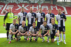 WREXHAM, WALES - Saturday, May 3, 2014: The New Saints players line up for a team group photograph before the Welsh Cup Final against Aberystwyth Town at the Racecourse Ground. Back row L-R: goalkeeper Paul Harrison, xxxx, xxxx, Michael Wilde, Matthew Williams, Christian Seargeant. Front row L-R: xxxx, xxxx, xxxx, xxxx, xxxx. (Pic by David Rawcliffe/Propaganda)