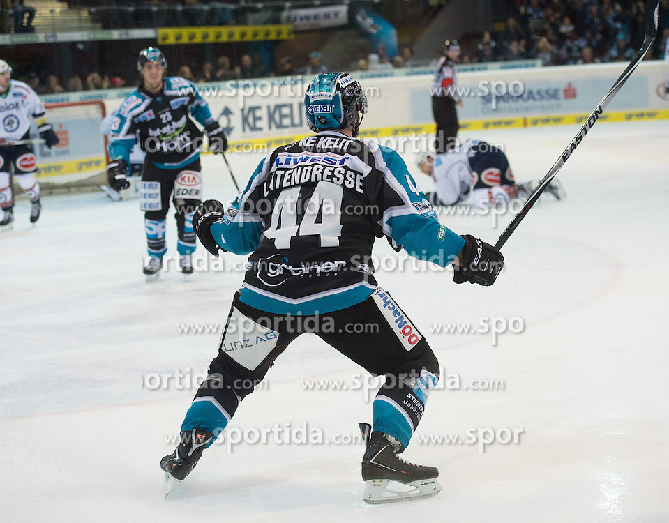 13.10.2015, Keine Sorgen Eisarena, Linz, AUT, EBEL, EHC Liwest Black Wings Linz vs EC VSV, 11. Runde, im Bild Olivier Latendresse (EHC Liwest Black Wings Linz) jubelt // during the Erste Bank Icehockey League 11th round match between EHC Liwest Black Wings Linz and EC VSV at the Keine Sorgen Icearena, Linz, Austria on 2015/10/13. EXPA Pictures © 2015, PhotoCredit: EXPA/ Reinhard Eisenbauer