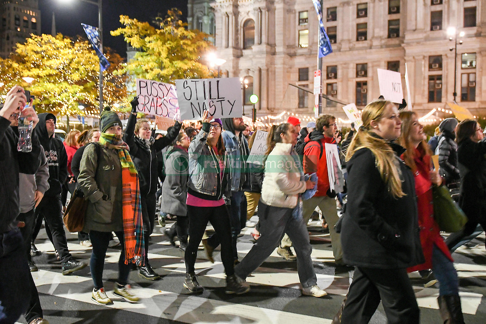 November 11, 2016 - Philadelphia, Pennsylvania, U.S - Anti Trump protesters march through the streets of downtown center city in Philadelphia Pa (Credit Image: © Ricky Fitchett via ZUMA Wire)