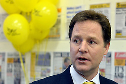 © Licensed to London News Pictures. 27/02/2013. Eastleigh, UK. NICK CLEGG. Leader of the Liberal Democrats and Deputy Prime minister Nick Clegg and Liberal Democrat Parliamentary Candidate for Eastleigh, Mike Thornton at the Liberal Democrat campaign headquarters in Eastleigh today 27th February 2013. Polling takes place across the borough tomorrow.  Photo credit : Stephen Simpson/LNP