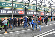 Plymouth Argyle fans outside Home Park Stadium before the EFL Sky Bet League 1 match between Plymouth Argyle and Accrington Stanley at Home Park, Plymouth, England on 22 December 2018.