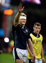 David Denton of Scotland waves to the crowd after the match - Mandatory byline: Patrick Khachfe/JMP - 07966 386802 - 23/09/2015 - RUGBY UNION - Kingsholm Stadium - Gloucester, England - Scotland v Japan - Rugby World Cup 2015 Pool B.