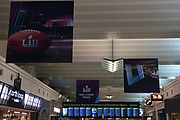 General overall view of Super Bowl LII signage at the Minneapolis-St. Paul International Airport (MSP) in Minneapolis, Monday, Jan 15, 2018. Super Bowl LII will be the 52nd Super Bowl and the 48th modern-era National Football League championship game. It will decide the league champion for the 2017 NFL season. The game will be played on Sunday, Feb. 4, 2018 at U.S. Bank Stadium in Minneapolis. It is the second Super Bowl in Minneapolis, which previously hosted Super Bowl XXVI in 1992. It will be the sixth Super Bowl in a cold weather city.