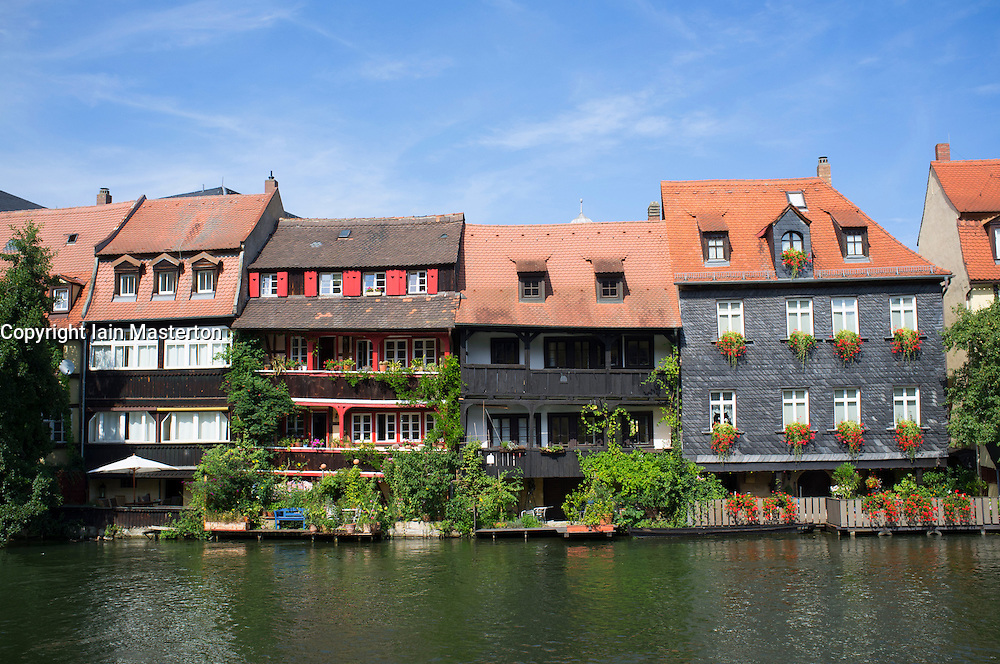 old houses on waterfront in little venice in bamberg. Black Bedroom Furniture Sets. Home Design Ideas