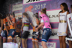 \boel celebrate winning the best team's title after Stage 10 of the Giro Rosa - a 124 km road race, starting and finishing in Torre Del Greco on July 9, 2017, in Naples, Italy. (Photo by Balint Hamvas/Velofocus.com)