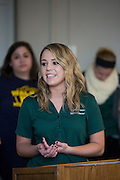 Students presented fictional or real business proposals for a panel of faculty and staff during the Shark Tank Experience event in Putnam Hall on February 28, 2014.