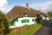 Historic attractive thatched cottages in Great Bedwyn, Wiltshire, England, UK