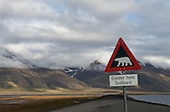 Longyearben, Norway. Polar bear warning sign. (20090809)