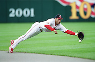 Undated - Cleveland, Ohio - Cleveland Indians second baseman Roberto Alomar dives for the ball during a MLB game at Jacobs Field in Cleveland Ohio. Alomar was elected to the National Baseball Hall of Fame on Jan. 6, 2011.
