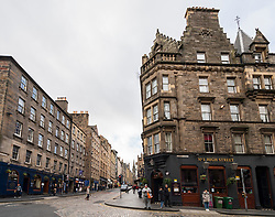 View along the Royal Mile (High Street) in Old Town of Edinburgh, Scotland ,UK