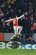 Olivier Giroud of Arsenal FC (12) celebrates scoring his second goal to go 2-0 up  during the The FA Cup fifth round match between Hull City and Arsenal at the KC Stadium, Kingston upon Hull, England on 8 March 2016. Photo by Ian Lyall.