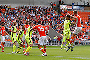 Exete's Jordan Moore-Taylor and Blackpool's Will Aimson get up for the high ball during the EFL Sky Bet League 2 match between Blackpool and Exeter City at Bloomfield Road, Blackpool, England on 6 August 2016. Photo by Craig Galloway.