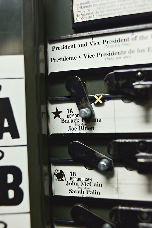 Interior of voting booth, showing lever in position to vote for Barack Obama and Joe Biden, Election Day 2008, Yonkers, New York, US.