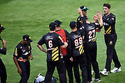 Wellington Firebirds' bowler Hamish Bennett celebrates the wicket of Central Stags' George Worker with his team mates during the Burger King Super Smash 2018/19 game between Wellington Firebirds vs Central Stags, Basin Reserve, Wellington, Friday 01st February 2019. Copyright Photo: Raghavan Venugopal / © www.Photosport.nz 2019