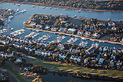 Aerial showing Wild Dunes marina on the Isle of Palms, South Carolina.