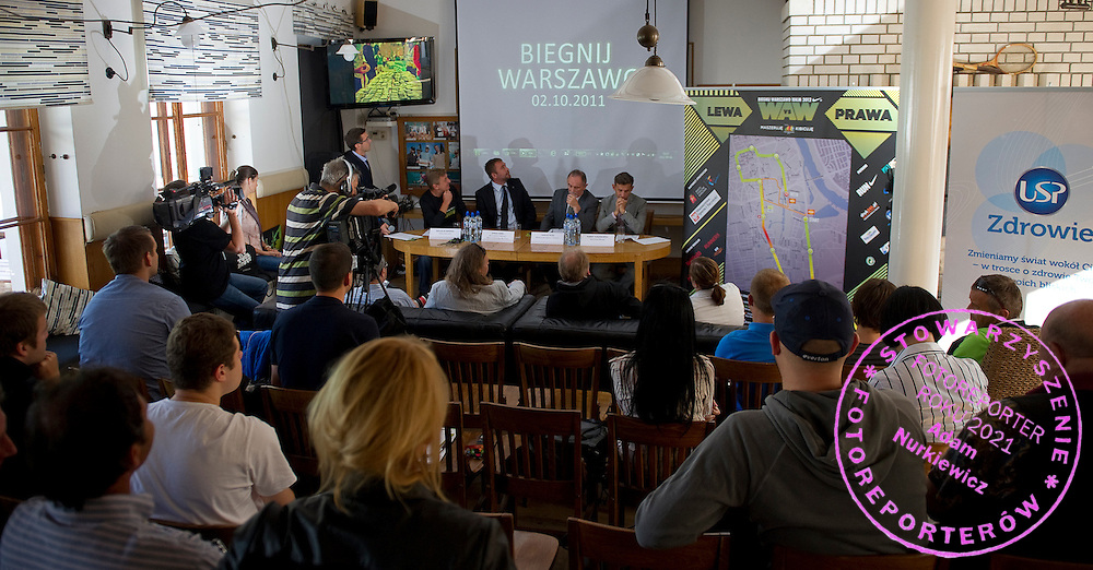 "(L-R) Maciej Kurzajewski & Boguslaw Maminski & Janusz Samel & Tadeusz Rozej & Robert Korzeniowski during press conference before event for runners called ""Biegnij Warszawo 2012"" at Return Cafe in Warsaw on September 18, 2012...Poland, Warsaw, September 18, 2012..Picture also available in RAW (NEF) or TIFF format on special request...For editorial use only. Any commercial or promotional use requires permission...Photo by © Adam Nurkiewicz / Mediasport"
