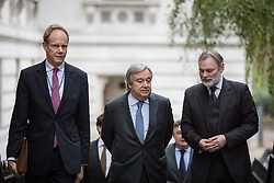© Licensed to London News Pictures. 15/11/2016. London, UK. António Manuel de Oliveira Guterres, Secretary-General-designate of the United Nations, arrives on Downing Street for a meeting with British Prime Minister Theresa May. Photo credit: Rob Pinney/LNP