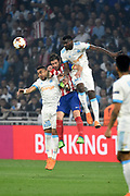 Midfielder Gabi of Atletico de Madrid between midfielders Dimitri Payet and Andre Zambo Anguissa of Olympique de Marseille during the UEFA Europa League, Final football match between Olympique de Marseille and Atletico de Madrid on May 16, 2018 at Groupama Stadium in Decines-Charpieu near Lyon, France - Photo Jean-Marie Hervio / ProSportsImages / DPPI