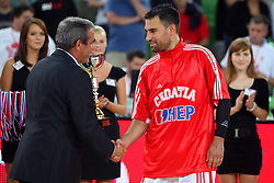 Miro Smrekar and Aleksandar Rasic of Croatia at friendly match between Serbia and Croatia for Adecco Cup 2011 as part of exhibition games before European Championship Lithuania on August 9, 2011, in SRC Stozice, Ljubljana, Slovenia. (Photo by Urban Urbanc / Sportida)