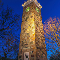 This Greater Boston area photography image shows the Isaac Sprague Memorial Tower at Elm Park, also known as Clocktower Park located within Wellesley Hills, MA. Wellesley is part of the Metro West region of Massachusetts and is only a few miles west of Boston. <br />