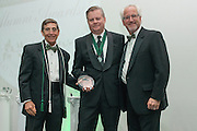 From Left, Larry Starr, David Abram and Ron Teplitzky pose after Abram was awarded the Distinguished Service Award during the 2016 Alumni Awards Gala at Ohio University's Baker Center Ballroom on Friday, October 07, 2016.