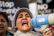 UNITED KINGDOM, London: 16 April 2018 Protesters shout anti government chants at a Stop The War Coalition demonstration on Parliament Square this evening. The demonstration, held outside of the Houses of Parliament, was to protest against military intervention in Syria. Rick Findler / Story Picture Agency