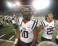 Mississippi defensive end C.J. Johnson (10) and Mississippi defensive back Cody Prewitt (25) celebrates vs. Vanderbilt in Nashville, Tenn. on Thursday, August 29, 2013. Ole Miss won 39-35.
