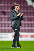 Heart of Midlothian manager Daniel Stendel applauds the fans as he leaves the pitch at the final whistle of the Ladbrokes Scottish Premiership match between Heart of Midlothian FC and Aberdeen FC at Tynecastle Stadium, Edinburgh, Scotland on 29 December 2019.