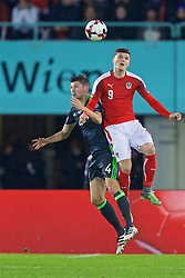 VIENNA, AUSTRIA - Thursday, October 6, 2016: Wales' Ben Davies in action against Austria's Marcel Sabitzer during the 2018 FIFA World Cup Qualifying Group D match at the Ernst-Happel-Stadion. (Pic by David Rawcliffe/Propaganda)
